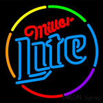 Miller Lite Multi Color Circle Neon Beer Sign 16x16