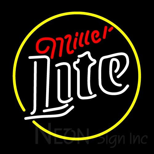 Miller Lite Circle Neon Beer Sign 24x24