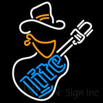 Miller Lite Cowboy Guitar Neon Beer Sign 24x24