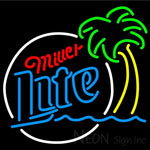 Miller Lite Circle Beach Palm Tree Neon Beer Sign 24x24