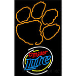 Miller Lite Rounded Clemson UNIVERSITY Tiger Print Neon Sign 4 0025