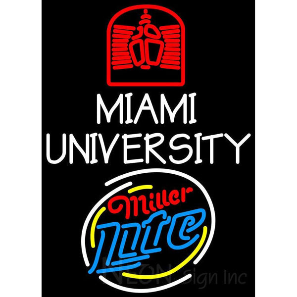 Miller Lite Rounded Miami UNIVERSITY Neon Sign 4 00026