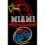 Miller Lite Rounded Miami UNIVERSITY Redhawks Neon Sign 4 0027