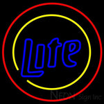 Miller Lite Two Sided Round Neon Beer Sign 24x24