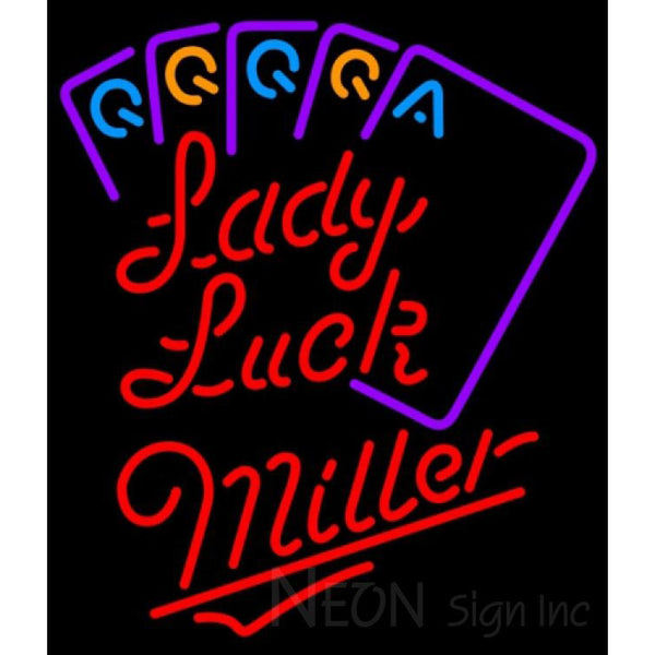 Miller Neon Poker Lady Luck Series Neon Sign 7 0003