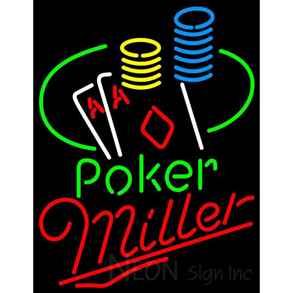 Miller Poker Ace Coin Table Neon Sign