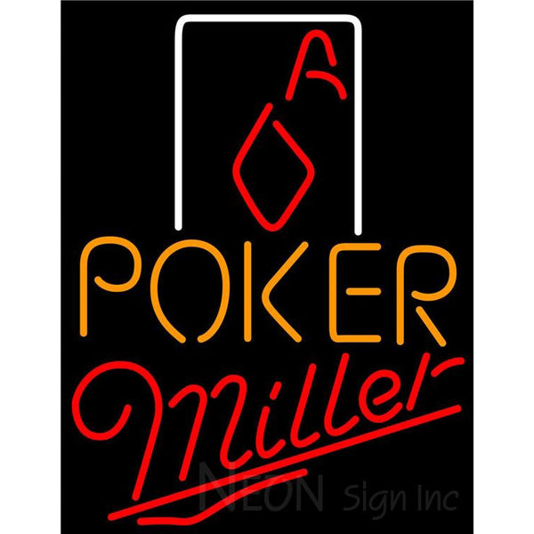 Miller Poker Squver Ace Neon Sign