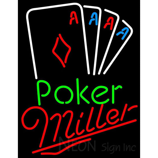 Miller Poker Tournament Neon Sign