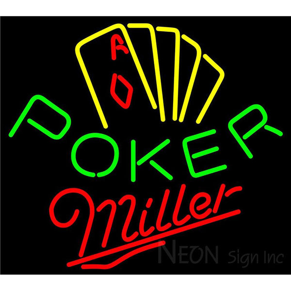 Miller Poker Yellow Neon Sign