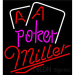 Miller Purple Lettering Red Aces White Cards Neon Sign