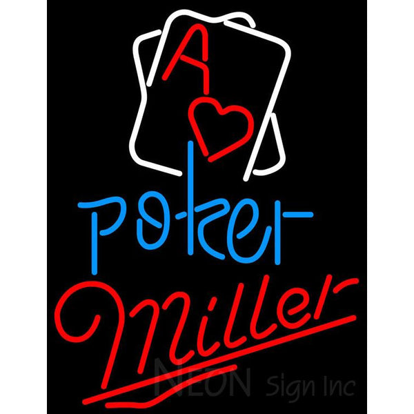 Miller Rectangular Black Hear Ace Neon Sign