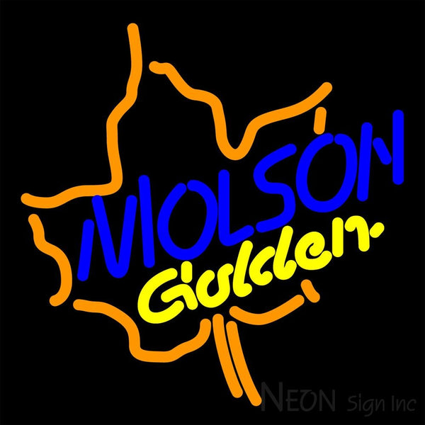 Molson Golden Maple Leaf Neon Beer Sign 16x16
