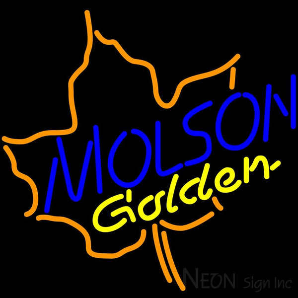 Molson Golden Maple Leaf Neon Beer Sign 24x24