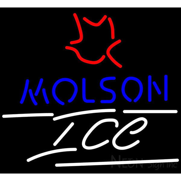 Molson Ice Small Maple Leaf Neon Beer Sign 24x24