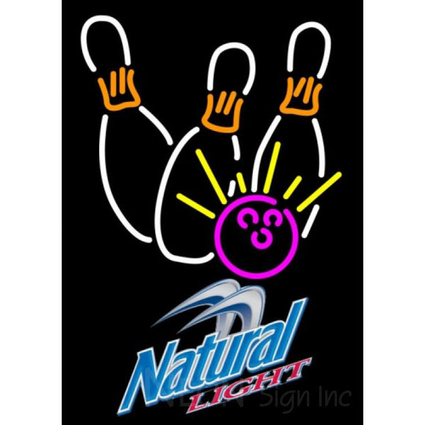 Natural Light Bowling Neon White Pink Neon Sign 9 0005