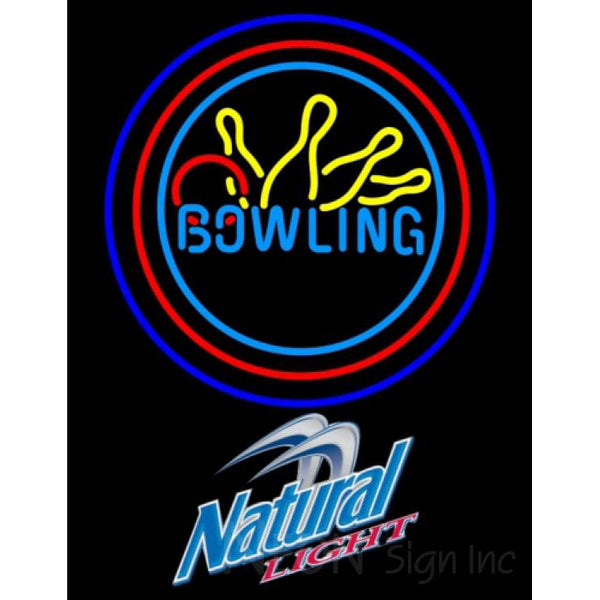 Natural Light Bowling Neon Yellow Blue Sign 9 0006