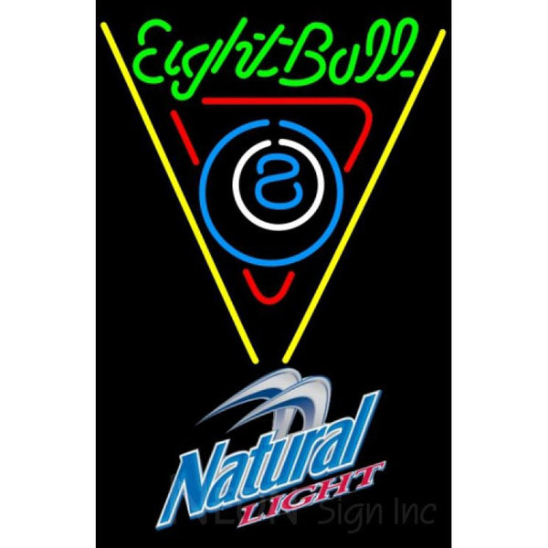 Natural Light Eight Ball Billiards Pool Neon Sign 8 0009