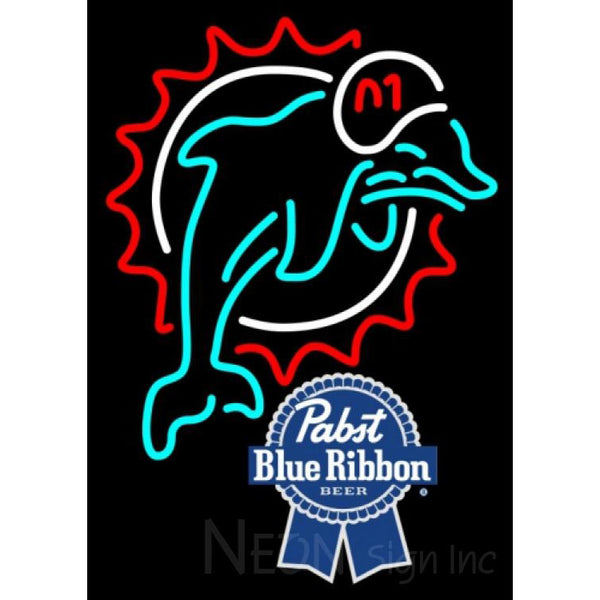 Pabst Blue Ribbon Miami Dolphins NFL Neon Sign 1 0024