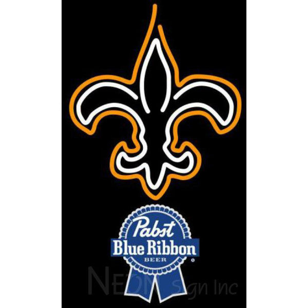 Pabst Blue Ribbon New Orleans Saints NFL Neon Sign 1 0019