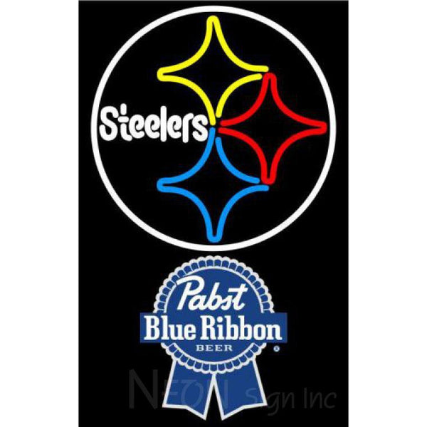 Pabst Blue Ribbon Pittsburgh Steelers NFL Neon Sign 1 0019