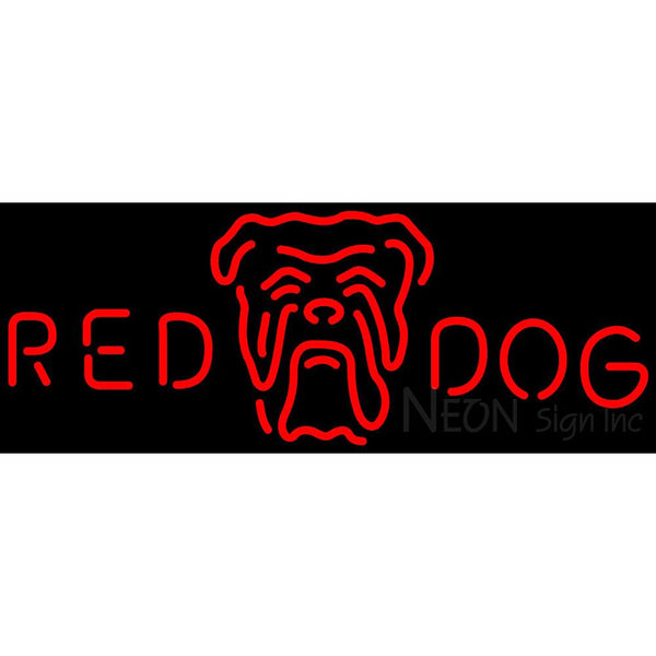 Red Dog Head Logo Neon Beer Sign