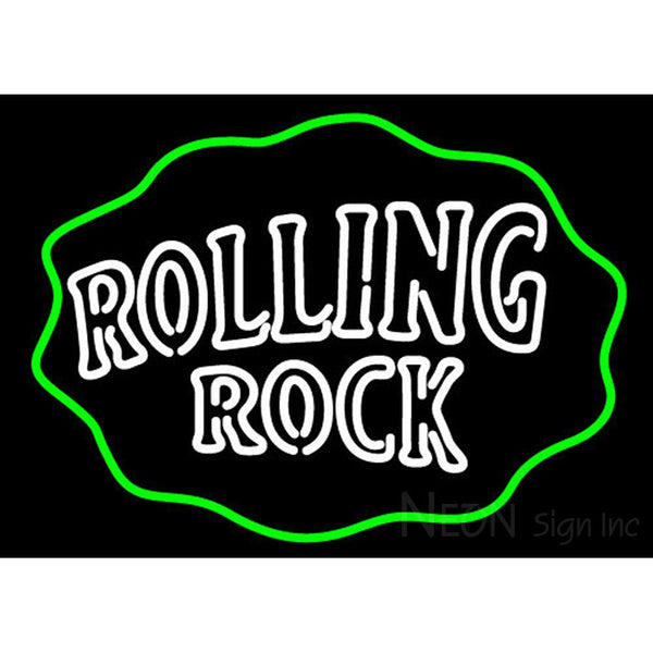 Rolling Rock Double Line Logo With Wavy Circle Neon Sign