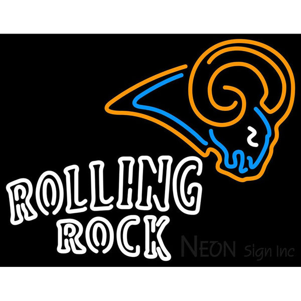 Rolling Rock Double Line St Louis Rams NFL Neon Sign 1 0025