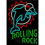 Rolling Rock Miami Dolphins NFL Neon Beer Sign