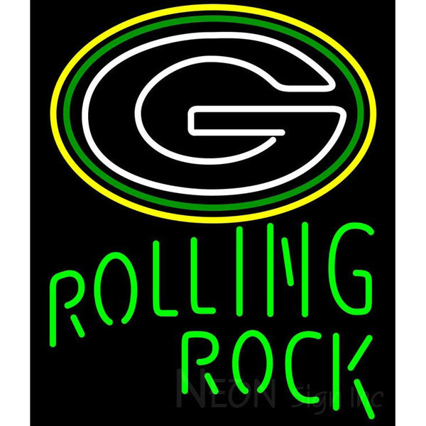 Rolling Rock Single Line Logo Green Bay Packers NFL Beer Neon Sign