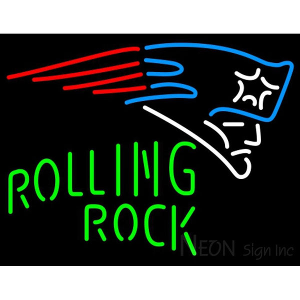 Rolling Rock Single Line New England Patriots NFL Neon Sign 1 0025