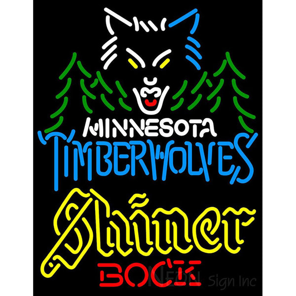Shiner Minnesota Timber Wolves NBA Neon Beer Sign