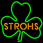 Strohs Green Clover Neon Beer Sign 16x16