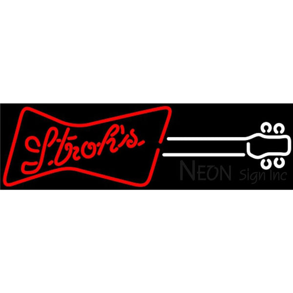 Strohs Guitar Red White Neon Sign 12 0016