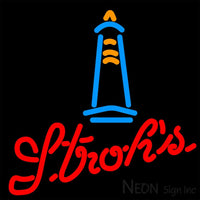 Strohs Lighthouse Neon Beer Sign 16x16