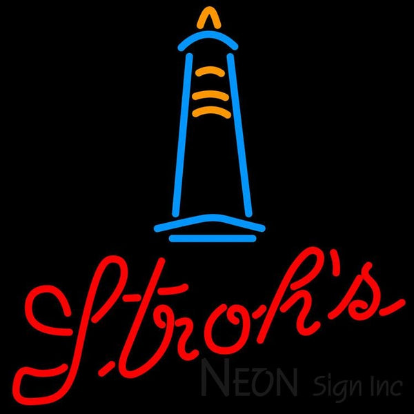 Strohs Lighthouse Neon Beer Sign 24x24