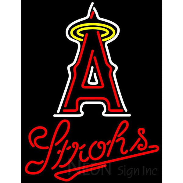 Strohs Los Angeles Angels Of Anaheim MLB Beer Neon Sign