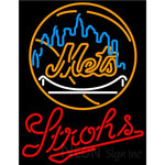 Strohs New York Mets MLB Beer Neon Sign