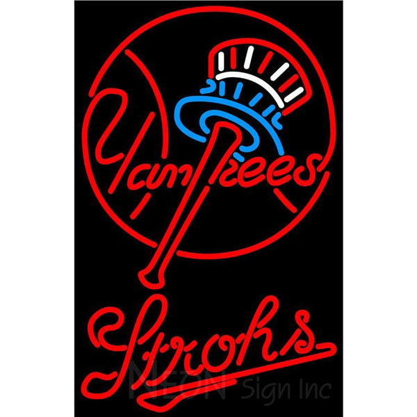 Strohs New York Yankees MLB Beer Neon Sign