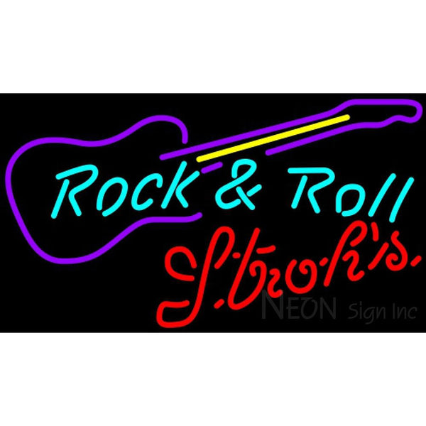 Strohs Rock N Roll Guitar Neon Sign 12 0025