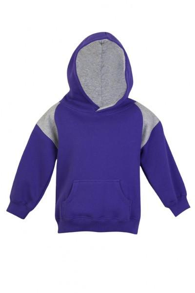 Ramo-Ramo Kids Shoulder Contrast Panel Hoodies-Grape/Grey Marl / 00-Uniform Wholesalers - 3