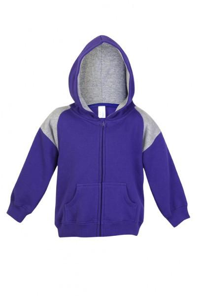 Ramo-Ramo Kids Shoulder Contrast Panel Hoodies with Zipper-Grape/Garl Marl / 00-Uniform Wholesalers - 2