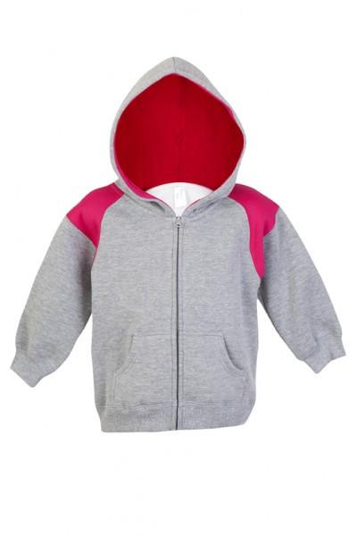 Ramo-Ramo Kids Shoulder Contrast Panel Hoodies with Zipper-Grey Marl/Hot Pink / 00-Uniform Wholesalers - 3