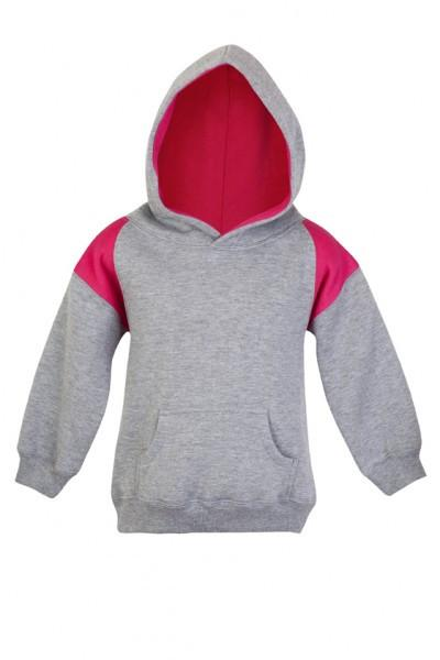 Ramo-Ramo Kids Shoulder Contrast Panel Hoodies-Grey Marl/Hot Pink / 0-Uniform Wholesalers - 4