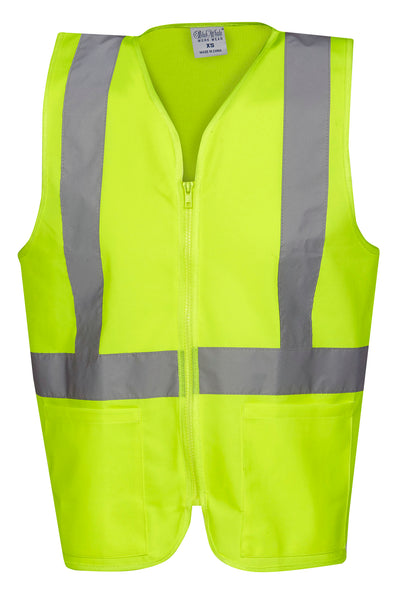 Kids Hi-Vis Safety Vest Taped with Zipper and Pockets