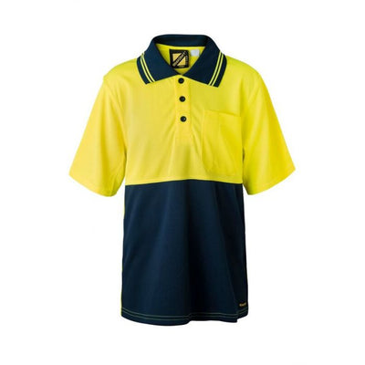 Kids Hivis Two Tone Short Sleeve Polo with Pocket