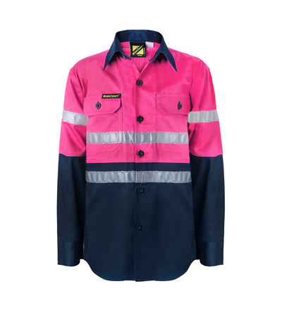Girls Hivis Two Tone Long Sleeve Shirt with 3M Reflective Tape