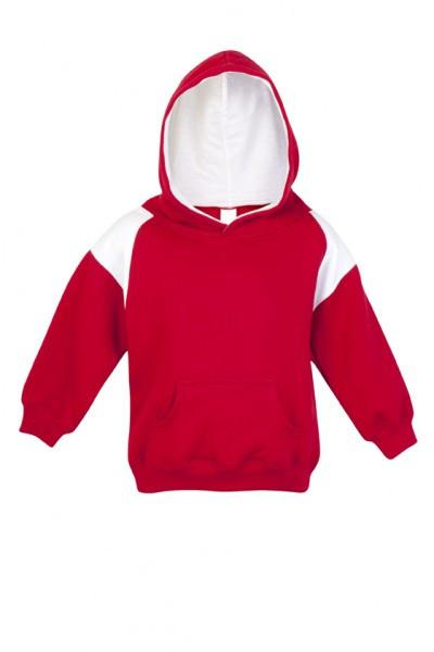 Ramo-Ramo Kids Shoulder Contrast Panel Hoodies-Red/White / 00-Uniform Wholesalers - 2