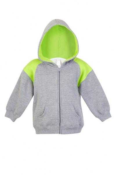 Ramo-Ramo Kids Shoulder Contrast Panel Hoodies with Zipper-Grey Marl/Lime / 00-Uniform Wholesalers - 4