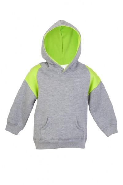 Ramo-Ramo Kids Shoulder Contrast Panel Hoodies-Grey Marl/Lime / 00-Uniform Wholesalers - 5
