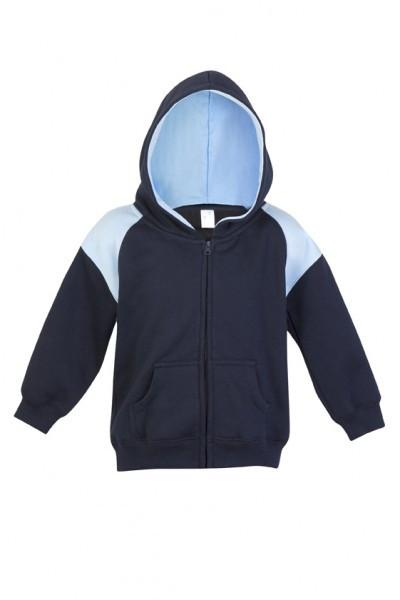 Ramo-Ramo Kids Shoulder Contrast Panel Hoodies with Zipper-Navy/SKy / 00-Uniform Wholesalers - 5